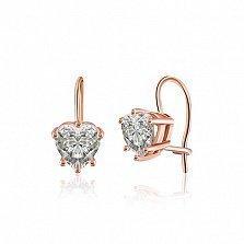 Серебряные серьги Менуэт с позолотой и фианитами