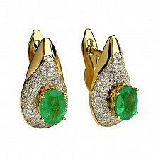Золотые серьги с изумрудами и бриллиантами Феномен