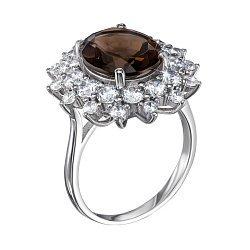 Серебряное кольцо с раухтопазом и фианитами 000125675