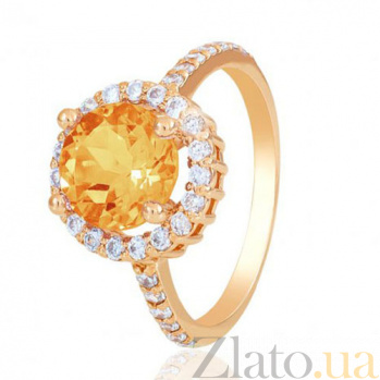 Золотое кольцо София с цитрином и фианитами EDM--КД4039ЦИТРИН