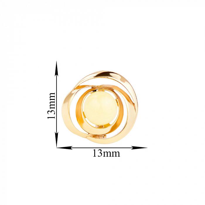 Позолоченные серебряные серьги Восхищение в форме розы с лимонным янтарем 000118949