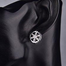 Серебряные серьги Цветик с фианитами в стиле Булгари