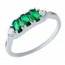 Серебряное кольцо Синди с синтезированным изумрудом и фианитами