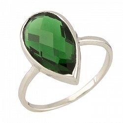 Серебряное кольцо Беатрис с синтезированным изумрудом