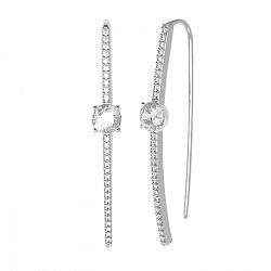 Серебряные серьги-протяжки Акцент с белыми фианитами 000071167