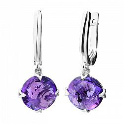 Серебряные серьги-подвески с фиолетовым кварцем 000104406
