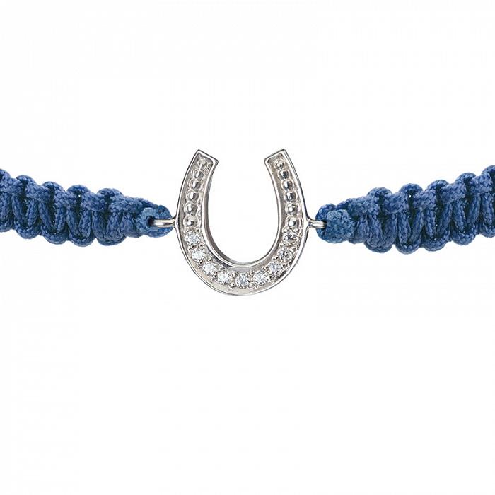 Синий плетеный браслет Удача с cеребряной вставкой-подковой и фианитами, 14х14мм 000080659