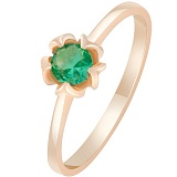 Золотое кольцо с изумрудом Земной лотос