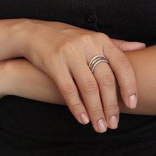Серебряное кольцо Мануэла с золотой накладкой и фианитами