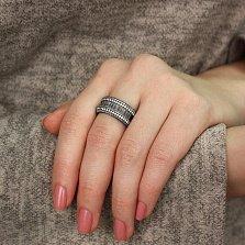 Серебряное кольцо Лавиния с черным родием и фианитами