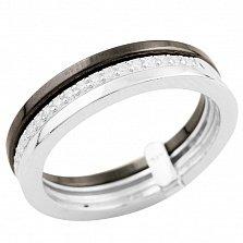 Серебряное кольцо Галатея с черной керамикой и фианитами