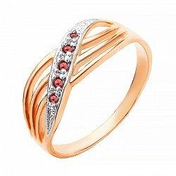 Серебряное кольцо с красным цирконием 000028198