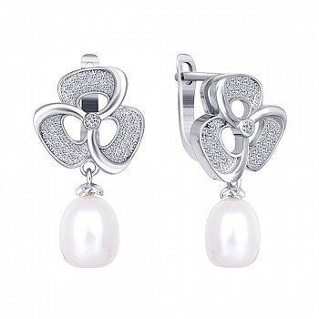 Срібні сережки з перлами і фіанітами 000024621