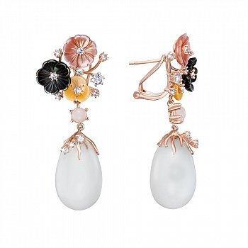 Срібні позолочені сережки-підвіски з перламутром і цирконієм 000138751