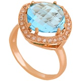 Золотое кольцо с фианитами и голубым топазом Фабьен