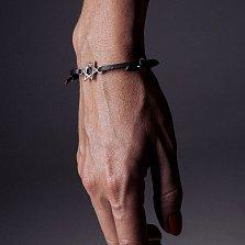 Кожаный браслет с серебром Star of David Black с чернением