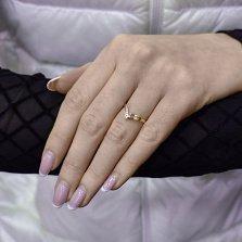 Золотое кольцо Лорен в красном цвете с дорожкой и фианитами