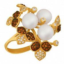 Кольцо из желтого золота с жемчугом и разноцветными фианитами Эвелина