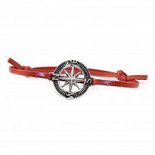 Кожаный браслет с серебром Compass Red с чернением