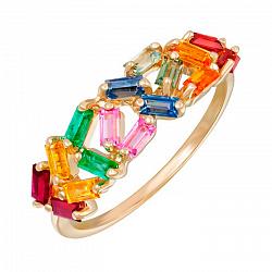 Кольцо в красном золоте с разноцветными сапфирами, рубинами и изумрудами 000105776