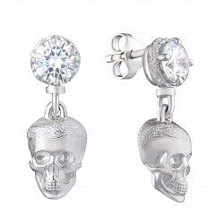 Серебряные серьги-пуссеты Memento mori с подвесками-черепами и белым цирконием