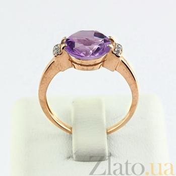 Золотое кольцо с аметистом и фианитами Крейтер 000024475