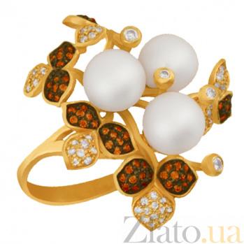 Кольцо из желтого золота с жемчугом и разноцветными фианитами Эвелина VLT--ТТ1234-1