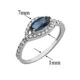 Серебряное кольцо Мелисса с лондон топазом и фианитами