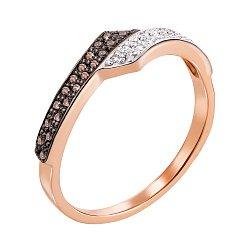 Золотое кольцо Фаустина в комбинированном цвете с коньячными и белыми бриллиантами