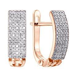Золотые серьги в комбинированном цвете с бриллиантами 000139163