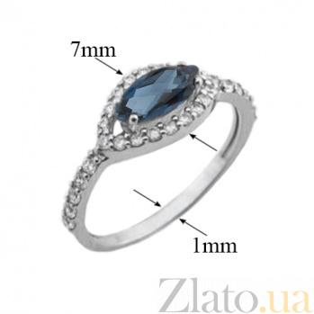 Серебряное кольцо Мелисса с лондон топазом и фианитами 1597/9р лондон