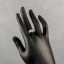 Серебряное кольцо Иланда с узорной шинкой и золотыми накладками