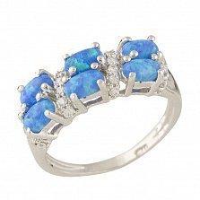 Серебряное кольцо Маджеста с синим опалом и фианитами