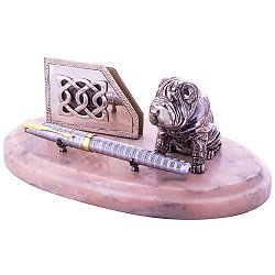 Серебряная авторская композиция Шарпей с визитницей и ручкой