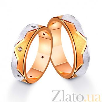 Золотое обручальное кольцо Вечная любовь в комбинированном цвете металла с фианитами TRF--412203