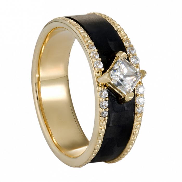 Кольцо из желтого золота и карбона Бранч с фианитами 000058848