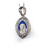 Серебряная ладанка с чёрной и синей эмалью Божья матерь