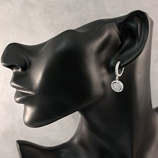 Серебряные серьги-конго Смигара с подвесками инкрустированными фианитами
