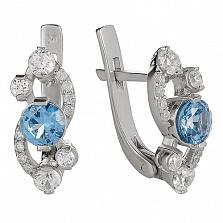 Серебряные серьги Оперетта с голубым кварцем и цирконием