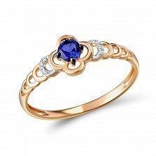 Кольцо из красного золота с сапфиром и бриллиантами Тиана
