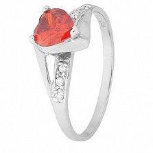 Серебряное кольцо с красным цирконием Страсть