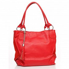 Кожаная сумка на каждый день Genuine Leather 8954 красного цвета с декоративной кистью на цепочке
