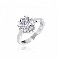Серебряное кольцо с белыми фианитами Белинда