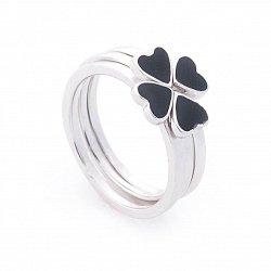 Серебряное кольцо-трансформер Клевер и сердца с черной эмалью