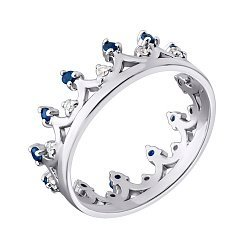 Серебряное кольцо-корона с сапфирами и фианитами 000098936