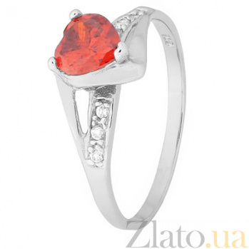 Серебряное кольцо с красным цирконием Страсть 000028128