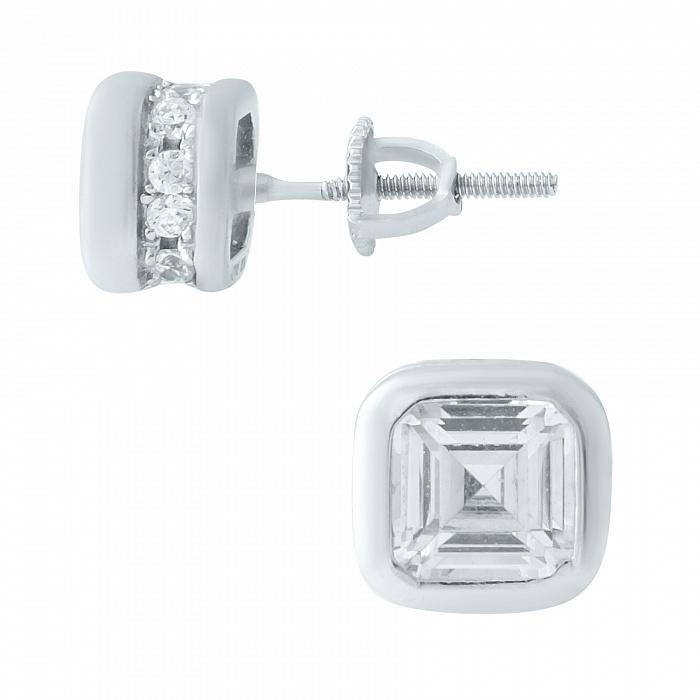 Серебряные серьги-пуссеты Снегопад с фианитами 000078029