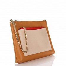 Кожаный клатч Genuine Leather 7808 коньячного цвета с бежевым накладным карманом и цепочкой
