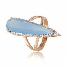 Золотое кольцо Галадриэль с голубым халцедоном и фианитами