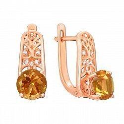Серьги из красного золота с цитринами и фианитами 000146798